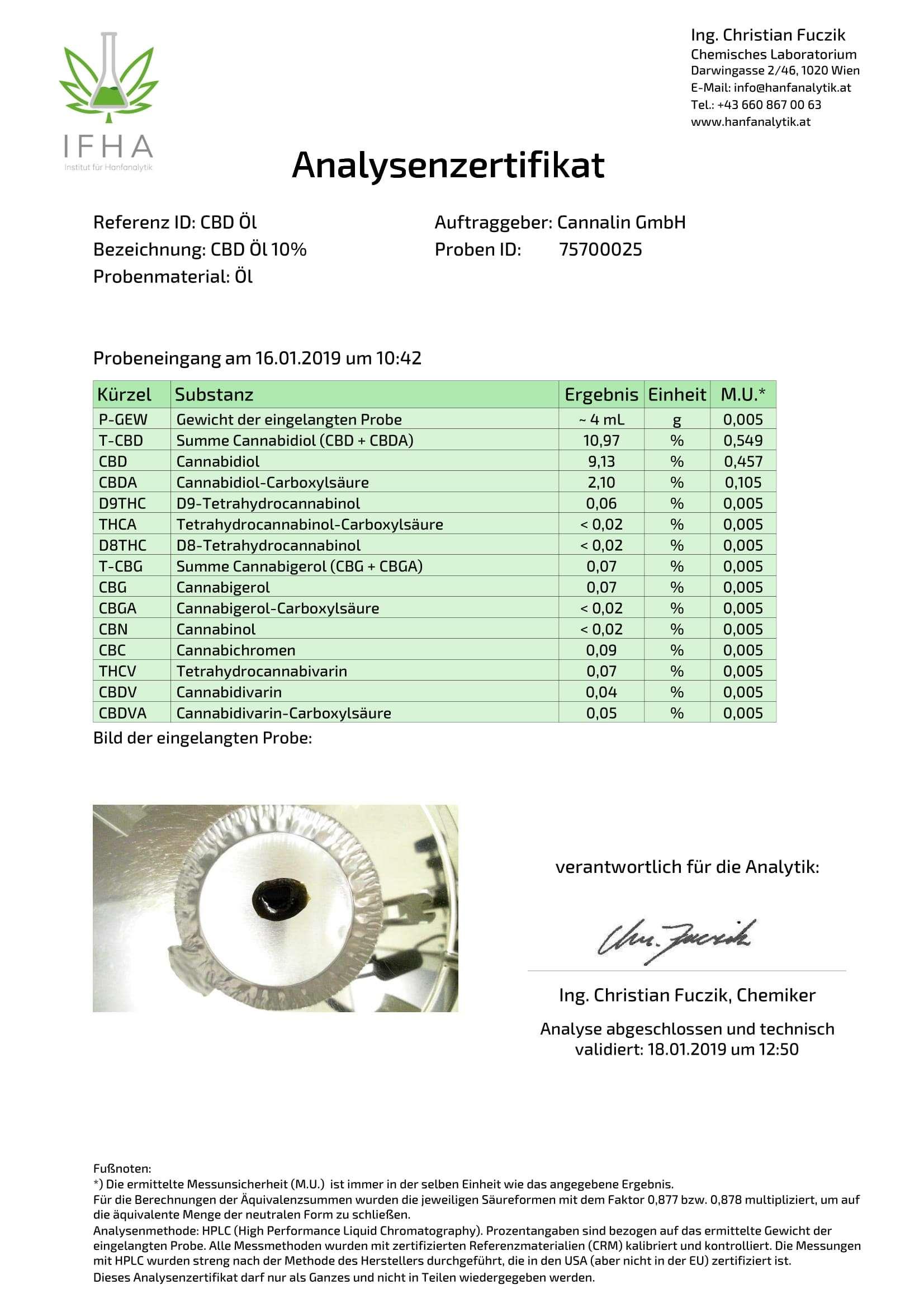 CBD Öl 10% 10ml | 4 zum Preis von 3 Analysenzertifikat